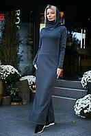 Очень тёплое зимнее платье с капюшоном-хомут