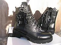 Ботинки Полусапоги  демисезонные  из натуральной кожи. Черные 39