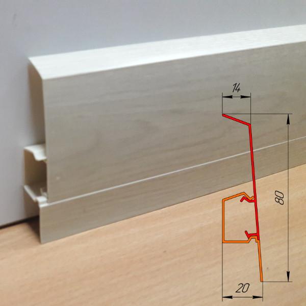 Дизайнерский высокий плинтус из ПВХ, высотой 80 мм Дуб полярный