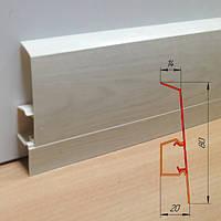 Дизайнерский высокий плинтус из ПВХ, высотой 80 мм Дуб полярный, фото 1