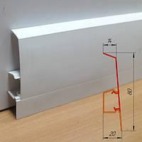 Белый высокий пластиковый плинтус из ПВХ, высотой 80 мм Белый