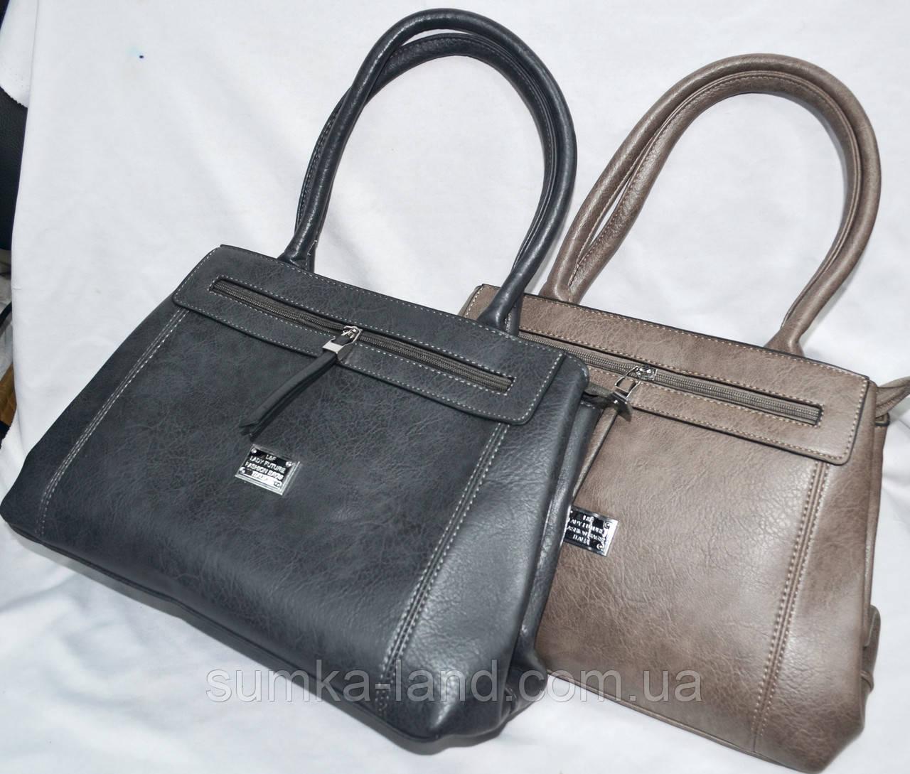 Женские сумки из искусственной кожи с длинными ручками 34*24 см (серая и хаки)