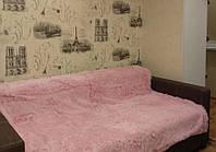 Покрывало на кровать меховое 160х220 в бледнорозовом цвете (пудра), фото 1