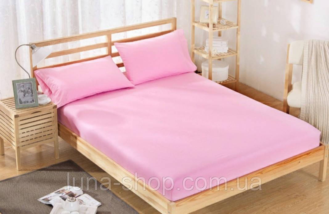 Сатинова рожеве простирадло на гумці з наволочками і без, всі розміри
