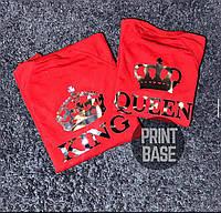 Футболки парные для влюбленных корона King и Queen с серебряным нанесением  печать на футболках