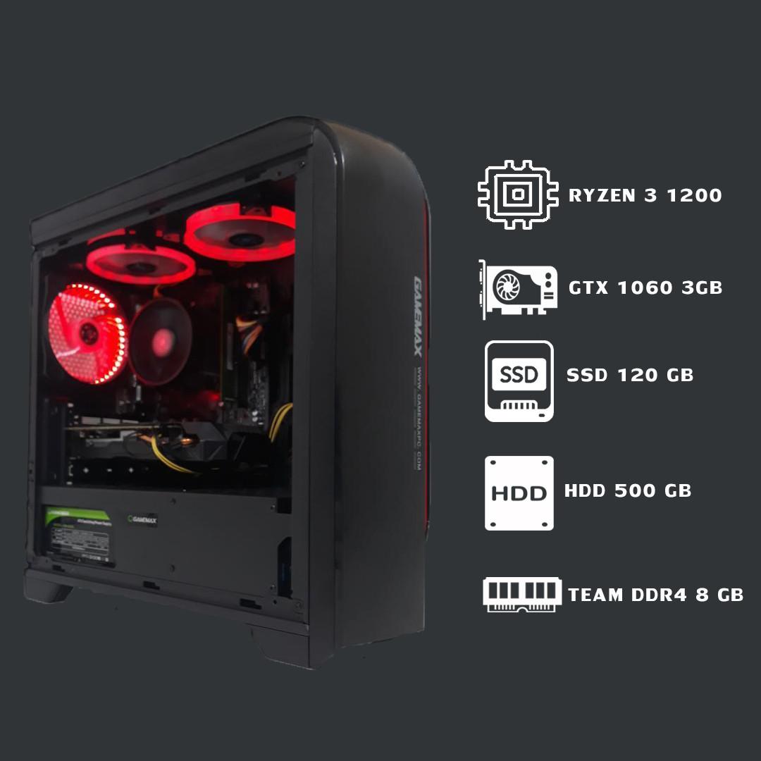 Игровой компьютерRyzen 3 1200+8GB+ssd 120+hdd 500GB+GTX 1060 3Gb
