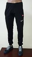 Спортивные штаны мужские с манжетами, трикотаж, черные, фото 1