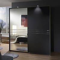 Шкаф купе черный комбинированный 2 двери