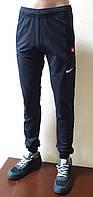 Спортивные штаны мужские с манжетами, трикотаж, темно-синие