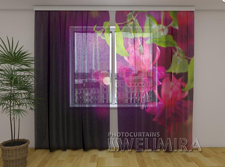 ФотоТюль Цветы фуксии 250 см х 260 см
