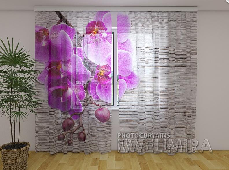 ФотоТюль Орхидеи и дерево 250 см х 260 см