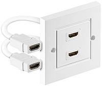 Розетка моніторна HDMI F/F (розетка) Lucom 2x внутрішня 86x86mm HS+HEC+ARC Белый(25.02.5049)
