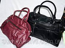 Женские сумки из искусственной кожи с ремешком на плечо, на 2 отделения 32*22 см (каштан и синяя)