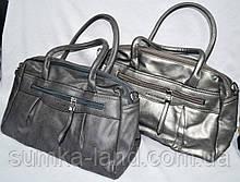 Жіночі сумки з штучної шкіри з ремінцем на плече, на 2 відділення 32*22 см (сіра і графіт)