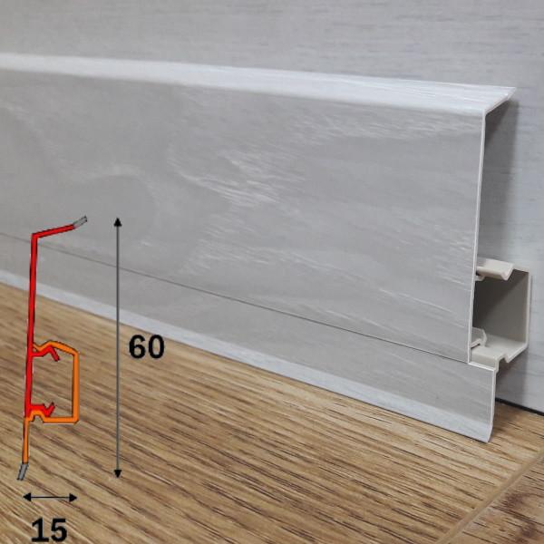 Напольный пластиковый плинтус прямоуголной формы, высотой 60 мм 2,5 м Котаже