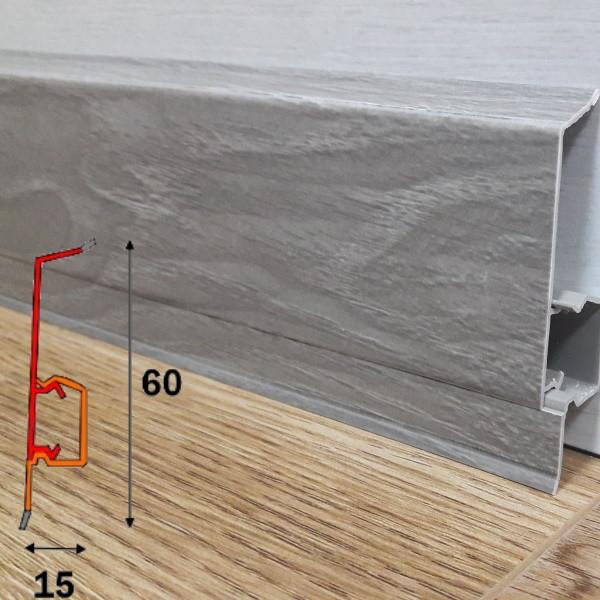 Плинтус пластиковый с кабель-каналом угловой, высотой 60 мм 2,5 м Шато