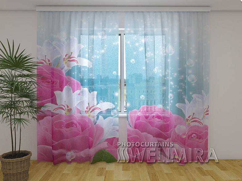 ФотоТюль Пышные розы 250 см х 260 см