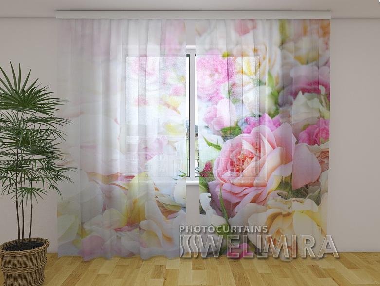 ФотоТюль Розы и лепестки 250 см х 260 см