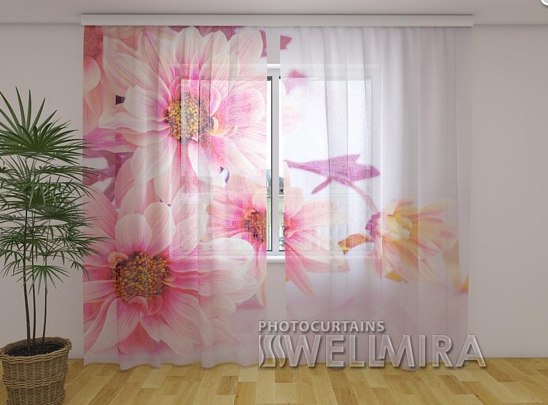 ФотоТюль Розовые герберы 250 см х 260 см
