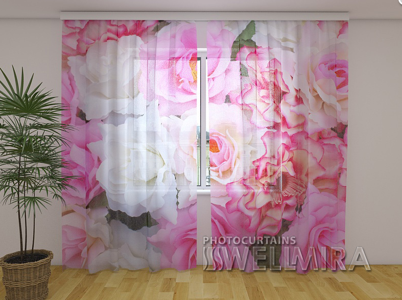 ФотоТюль Нежные розы 250 см х 260 см