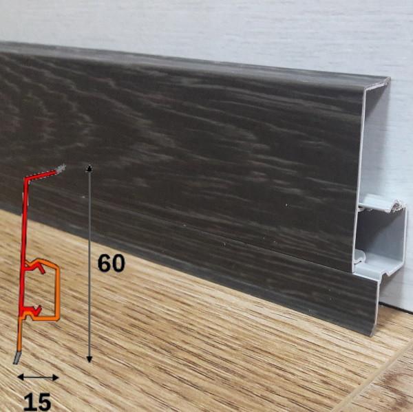 Плинтус для пола чёрного цвета, высотой 60 мм 2,5 м Дуб горелый