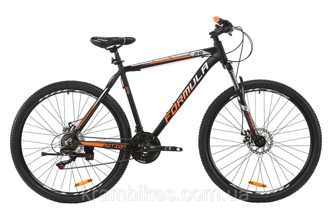 """Велосипед Formula - Motion 14G DD (2020) (29""""-21"""") Чёрный/Оранжевый/Серебристый"""