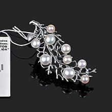 Серебряная крупная брошь Элегия с жемчугом 3616