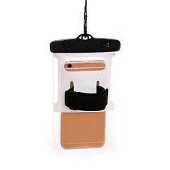"""Водонепроникний чохол пляжний / похідний для документів / телефону (до 6.0"""") (шнурок на шию, ремінь на руку) ЧОРНИЙ"""