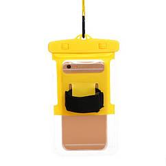 """Водонепроникний чохол пляжний / похідний для документів / телефону (до 6.0"""") (шнурок на шию, ремінь на руку) ЖОВТИЙ"""