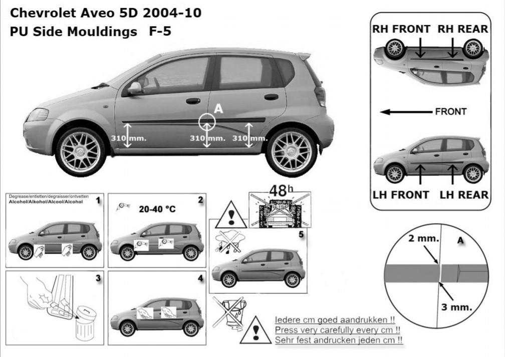 Сhevrolet Aveo T200 T255 5 Dr 2002 door mouldings