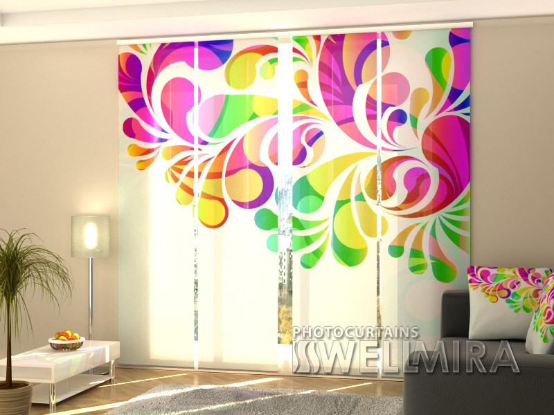 """Панельные Фото шторы """"Яркие цветы"""" 240 х 240 см"""
