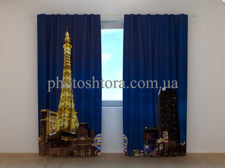 """Фото штори """"Вогні Ейфелевої вежі"""" 250 х 260 см"""