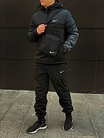 Спортивный костюм мужской утепленный Nike CL X black-khaki    Анорак + Штаны + Барсетка + Скидка