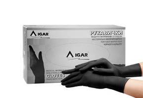 Перчатки медицинские нитриловые смотровые нестерильные неопудренные IGAR, черного цвета