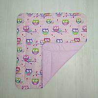 Детское хлопковое одеяло Т.М.Миля Совы на розовом 80 х 85 см