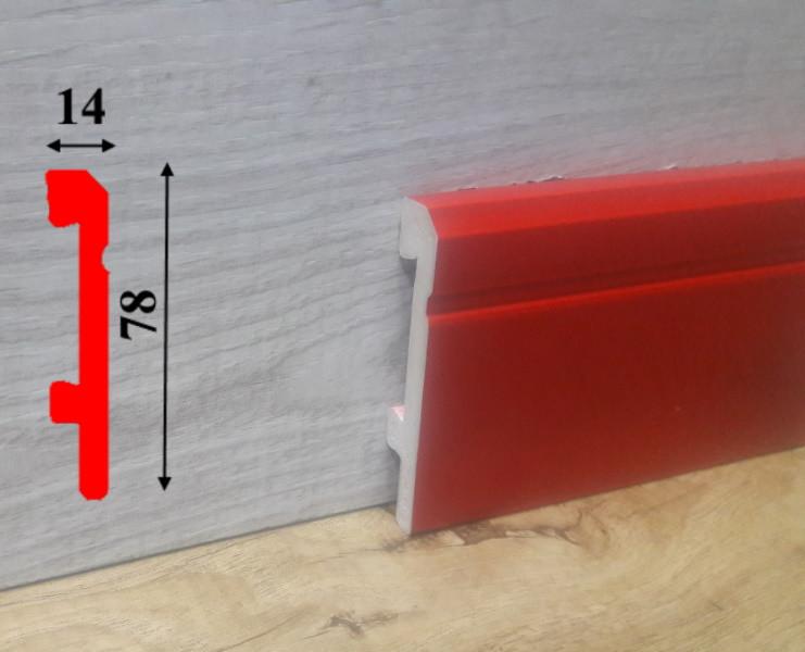 Красный напольный плинтус из полиуретана высотой 78 мм Salag Sierra 2,5 м Красный
