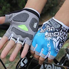 Велосипедные / спортивные беспалые перчатки (гелевые подушки / петли для снятия) L, СИНИЙ