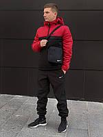 Спортивный костюм мужской утепленный Nike CL X black-red   Анорак + Штаны + Барсетка + Скидка