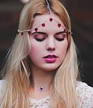 """Богемная цепочка-диадема украшение """"Сердца"""" 17048 на голову, фото 3"""