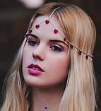"""Богемная цепочка-диадема украшение """"Сердца"""" 17048 на голову, фото 4"""