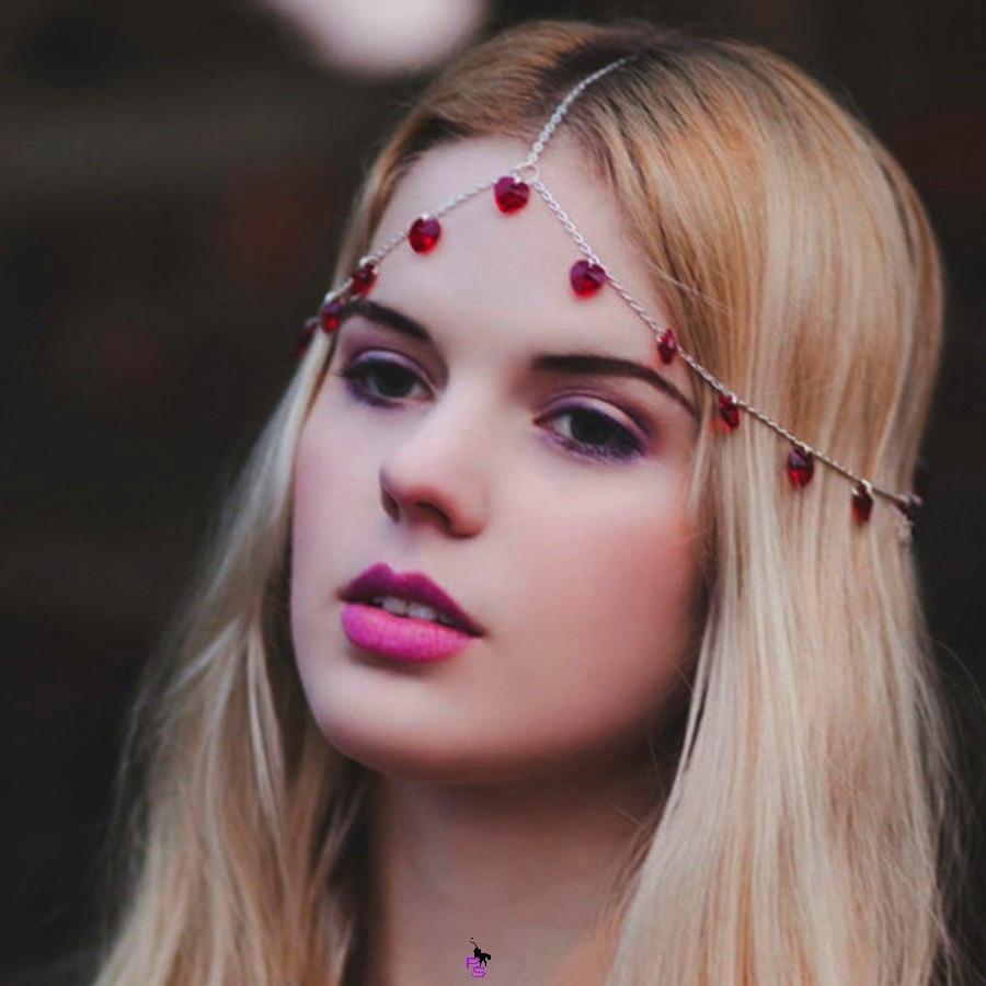 """Богемная цепочка-диадема украшение """"Сердца"""" 17048 на голову"""