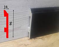 Высокий плинтус чёрного цвета из полиуретана высотой 96 мм Salag Sierra 2,5 м Чёрный, фото 1