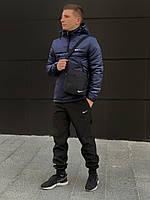 Спортивный костюм мужской утепленный Nike CL X black-blue    Анорак + Штаны + Барсетка + Скидка
