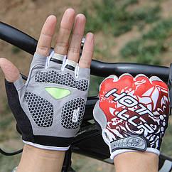 Велосипедные / спортивные беспалые перчатки (гелевые подушки / петли для снятия) L, КРАСНЫЙ