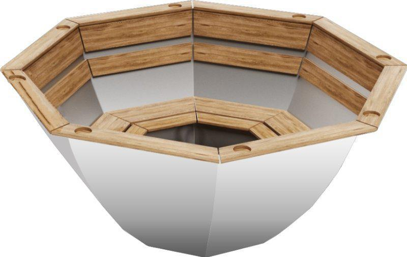Чан для бани на дровах Пан Чан из техн. нерж. стали 2мм малый без топки обшивка сосна