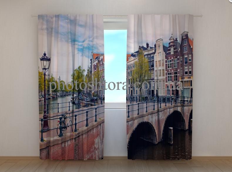 """Фото шторы """"Мост в Амстердаме"""" 250 х 260 см"""