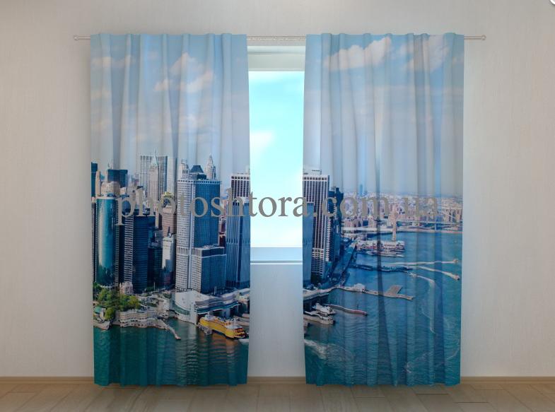 """Фото шторы """"Нью-Йорк вид с облаков 2"""" 250 х 260 см"""