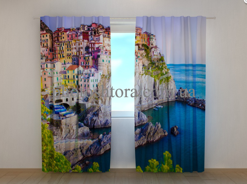 "Фото шторы ""Яркие домики Греции"" 250 х 260 см"