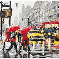 Картина по номерам Городской пейзаж Дождливый Стокгольм 40*40 см Идейка, КНО2629, 300311