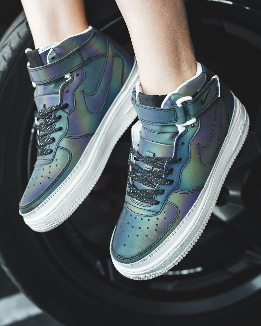 Кроссовки женские в стиле Nike Air Force Reflective Leather